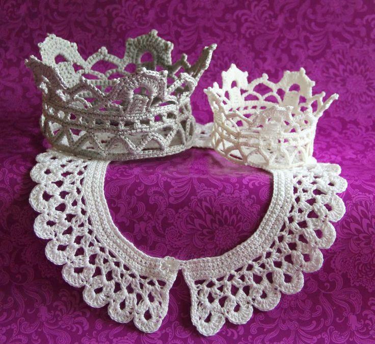crochet colar coroa reforçando pintainho ponta padrão livre