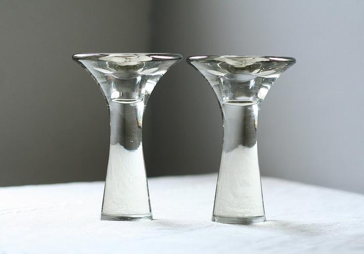 Tapio Wirkkala glass candle holders, pair