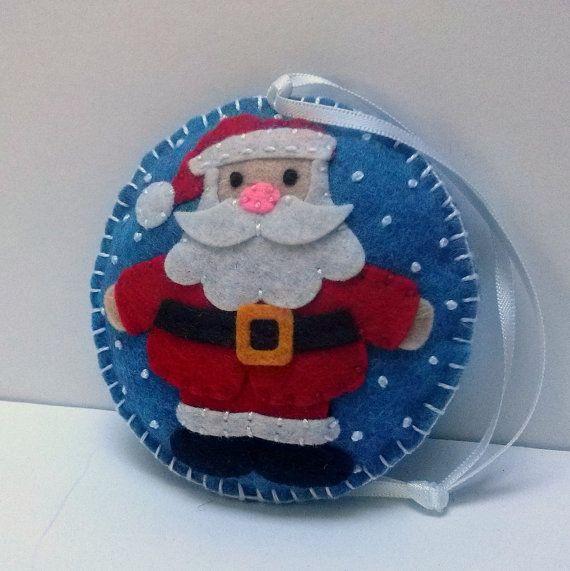 Felt Santa Claus ornament Christmas Santa ornament by DusiCrafts