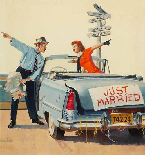 GORDON JOHNSON (American, 20th Century). Just Married, American Weekly cover, August 5, 1956