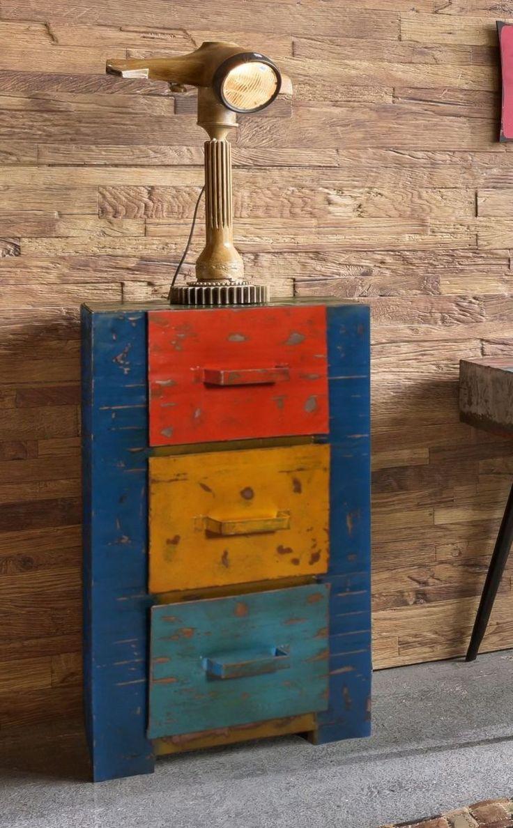 Marvelous Kommode Desgin Aus Recycelten lf ssern Metall In Bunt Bemalt Woody Mehrfarbig Stylisch Jetzt bestellen unter https moebel ladendirekt de