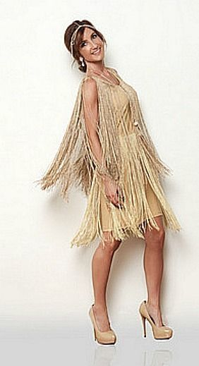 Fler Dress Gold Fringe 1920 S Dancer Latin Salsa Gatsby Costume M L Xl In Clothing Shoes Accessories Women Dresses Ebay