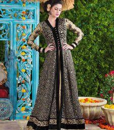 Buy Black net and velvet embroidered semi stitiched salwar with dupatta party-wear-salwar-kameez online
