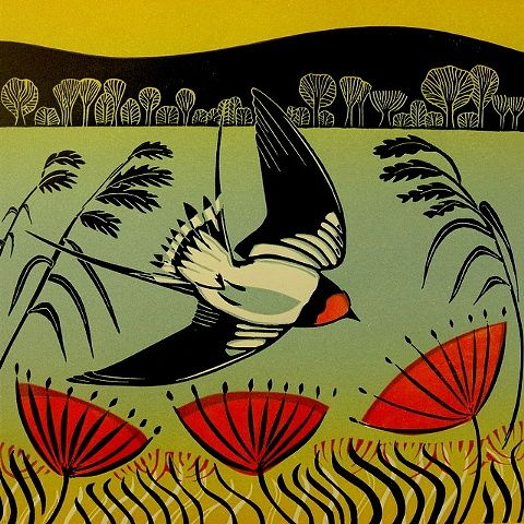 Swooping Swallow, 2012, Cathy King, three block linocut printed on Zerkall paper, 28.5 x 28.5 cm., Exeter, Devon, UK