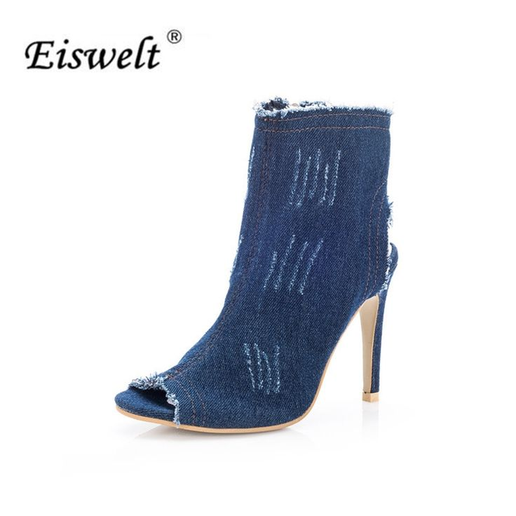 14.99$  Buy here - EISWELT 2017 Fashion Summer Women's Ladies Fish Mouth Zip Super High Heel Open Toes Wedge Denim Blue Sandals Shoes Women#LQ152  #magazineonlinebeautiful