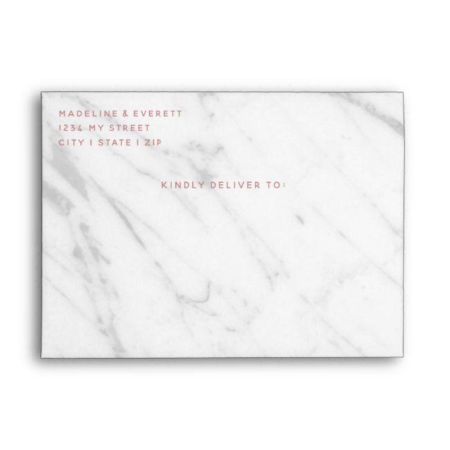 White Marble Rose Gold Geometric Wedding Monogram Envelope Zazzle Com Monogram Wedding Geometric Wedding Elegant Wedding Stationery