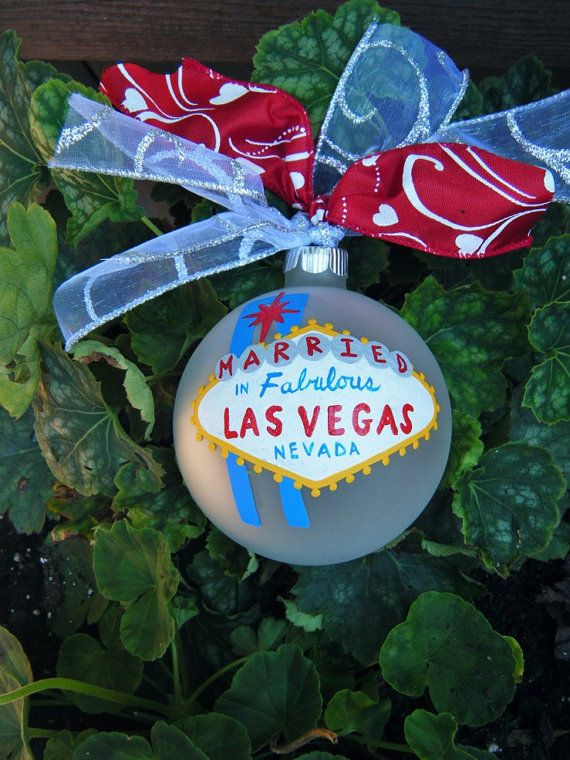 Married in Las Vegas Ornament - Personalized Wedding - Handpainted Glass Ball Ornament