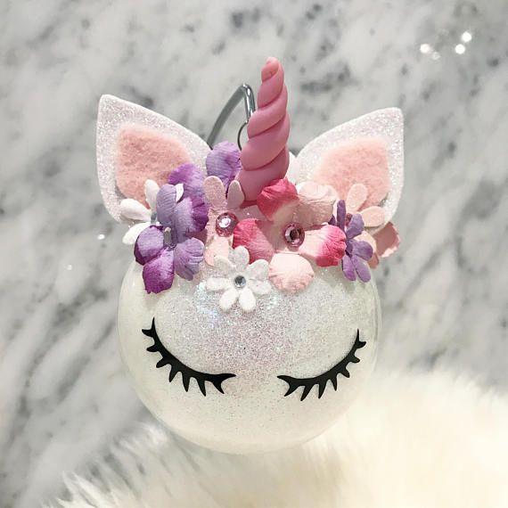UNICORN ORNAMENT Unicorn Ornament Felt Ball Flower Crown