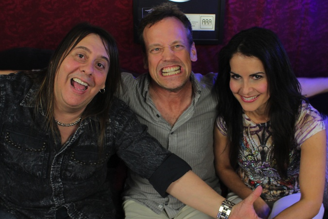 Chuck and Stacey J. having fun with voice of Klaus from American Dad, the super talented, Dee Bradley Baker