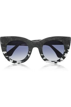 Cat eye marble-effect acetate sunglasses