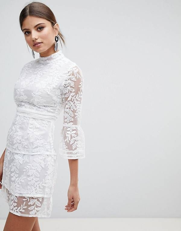 c52294fde0a50 Boohoo Embroidered Mesh Tiered Lace Dress | What to Wear | Asos lace ...