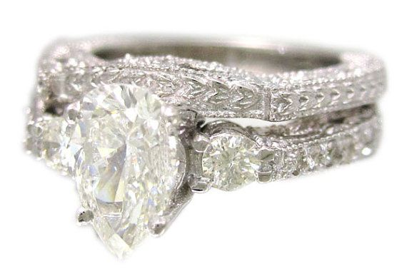 14k white gold pear shape diamond engagement ring and by KNRINC, $4555.00