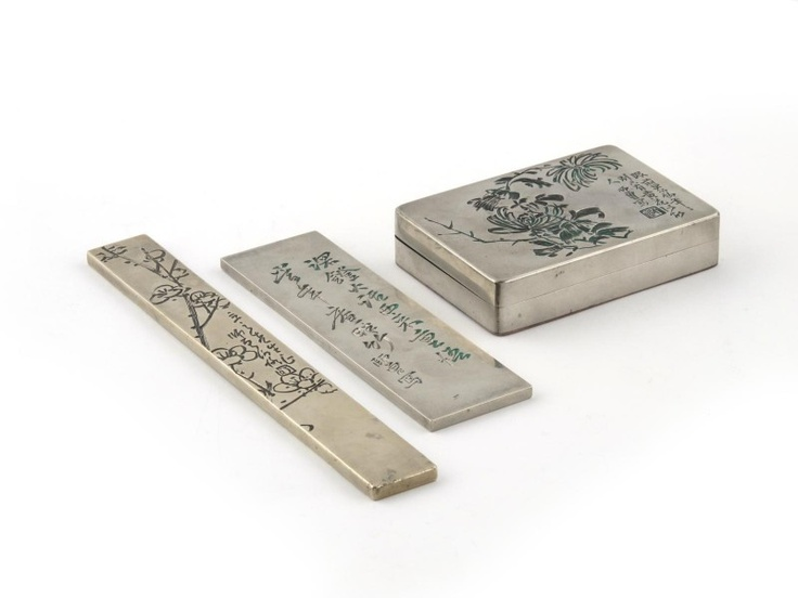 A Penchant for Chinese Paktong at British Antique Sales - Two rectangular paktong scroll weights and an ink box and cover, all with calligraphy, smashed the presale estimate of £200-£300, hammering for a final price of £26,000. #antique #auction: Chinese Paktong, Paktong Scrolls, Ink Boxes, Antiques Sales, Antiques Auction, Presal Estim, British Antiques, Finals Price, Antiques Worth