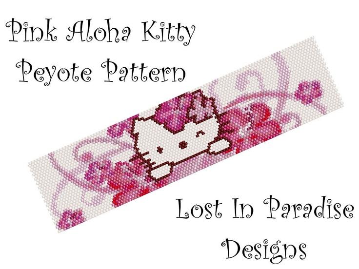 Peyote Bracelet Pattern - Pink Aloha Kitty - Peyote Stitch Pattern Bracelet or Bookmark (Buy any 2 and get one Free). $6.50, via Etsy.