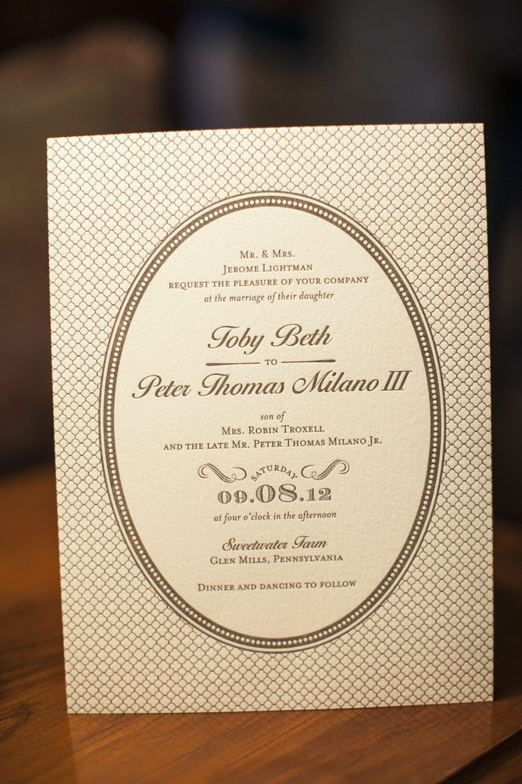 oval in a rectangle wedding invitation 139