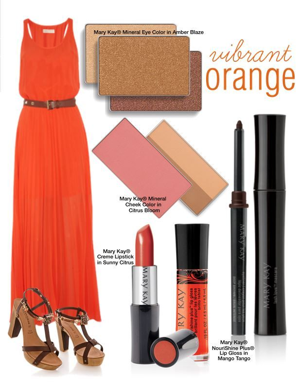 The weather is warming up – and so are the colors! From your beauty to your fashion, incorporate different shades of orange into your look to rock the hottest trend this season. Get the look yourself with Mary Kay® NouriShine Plus® Lip Gloss in Mango Tango, Mary Kay® Creme Lipstick in Sunny Citrus, Mary Kay® Mineral Eye Color in Amber Blaze, or Mary Kay® Mineral Cheek Color in Citrus Bloom.