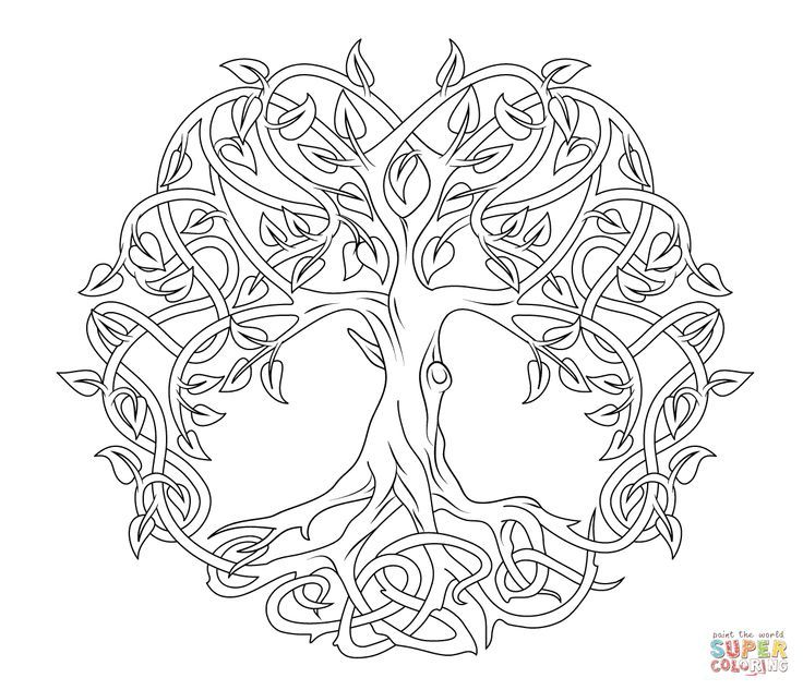 Celtic Tree of Life coloring page | SuperColoring.com: