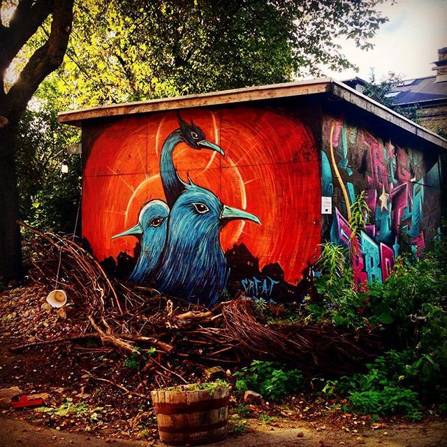 Here's just one of the many beautiful art pieces you can find throughout Freetown Christiania #urbanart #christiania #copenhagen #copenhagenlife #findroommate