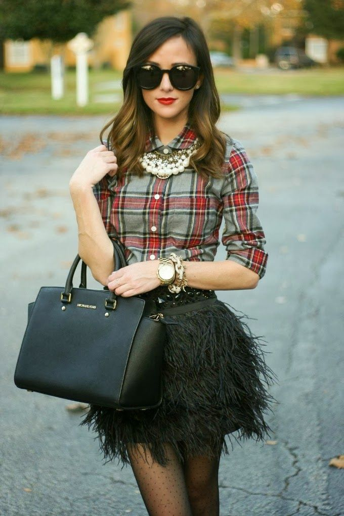 Fashion Blogger Haley Skirt From Shop Dandy Shirt From J.Crew factory Purse From Michael Kors And Sunglasses From Karen Walker: