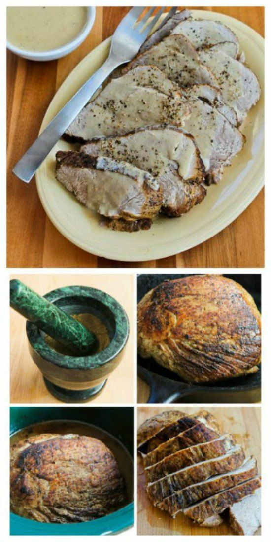 Slow Cooker Bavarian Pork Sirloin Tip Roast with Sour Cream Gravy from Kalyn's Kitchen is a delicious dinner made with inexpensive pork sirloin tip roast; this is amazing for a low-carb meal! [featured on Slow Cooker or Pressure Cooker at SlowCookerFromScratch.com] #SlowCooker #CrockPot #LowCarb #PorkRecipe #BavarianPork