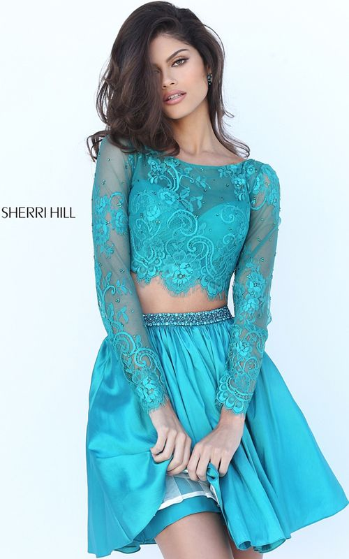 Beaded Lace Taffeta Sherri Hill 50556 Teal Homecoming Dress 2016