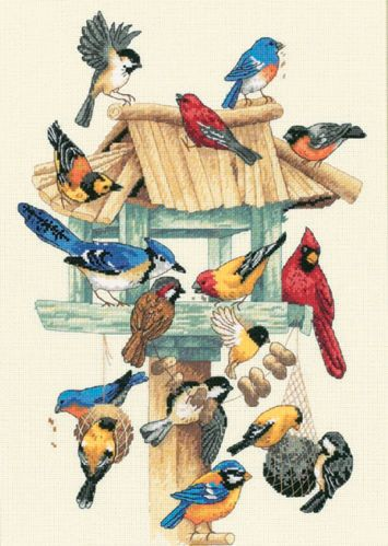13683 FEASTING FRENZY BIRDHOUSE CROSS STITCH KIT-10X14""