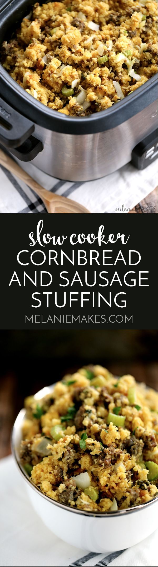 This Slow Cooker Cornbread and Sausage Stuffing knocks the socks off anything you'd buy from a box at the grocery store, yet is just as easy to prepare.  Cornbread, sausage, celery, onion and sage are stirred together are the stars of this Thanksgiving staple that's cooked in your slow cooker to free up valuable oven real estate.