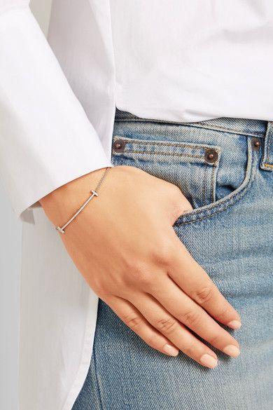 Tiffany & Co - T Smile 18-karat White Gold Diamond Bracelet -