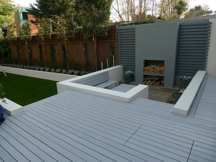 grey deck sunken chill garden area flat tree hedge raised beds fake lawn turf grass london