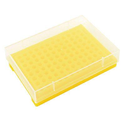 Sostenedor del Estante de Plástico amarillo 96 Tubos w Cubierta para 0.2 ML Tubo de Centrífuga