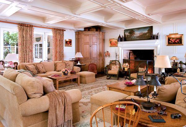 "Barbara Streisand's family room. ""I like textures, different textures of the same color,"" she says. ""I find it calming.""   Read more: http://www.oprah.com/oprahshow/Inside-Barbra-Streisands-Dream-Home/7#ixzz2UXIbekJ4"