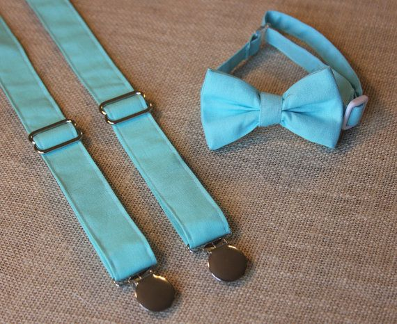 Solid Aqua / Teal Bow Tie and Suspenders set   by CottonKandyShop, $25.00