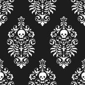 Skull Damask Fabric - Black, on spoonflower