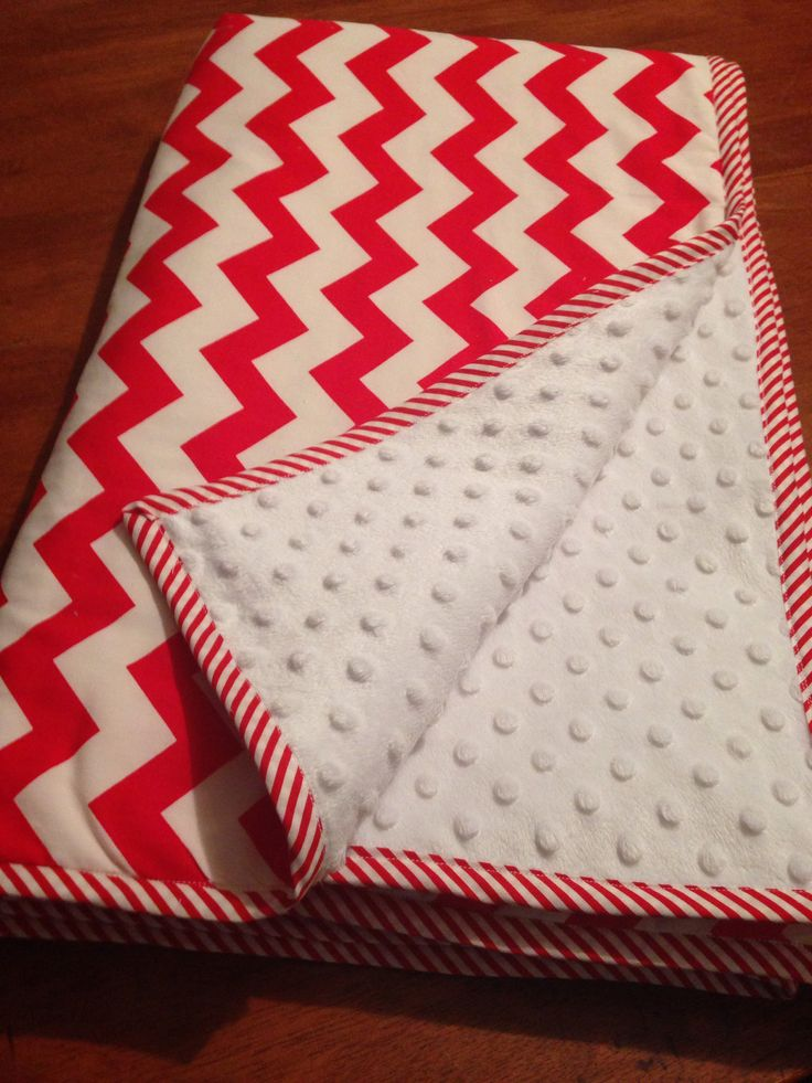 Gorgeous cot sized red chevron and minky dot quilted with 100% organic cotton wadding. $120 available from www.facebook.com/druberryblankets