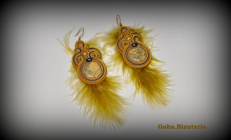 Original soutache earrings. The earrings are decorated with beautiful feathers. Unique.