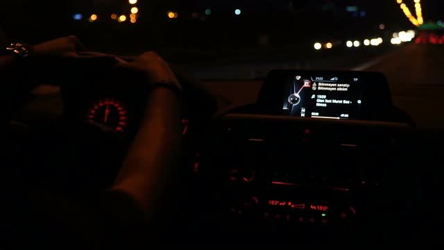 Driving Car at Night in Slow Motion Stock Video Footage - VideoBlocks