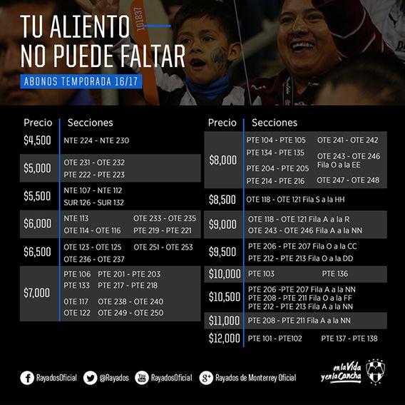 Proceso de Renovación Abonos Temporada 2016-2017 - Sitio Oficial del Club de Futbol Monterrey