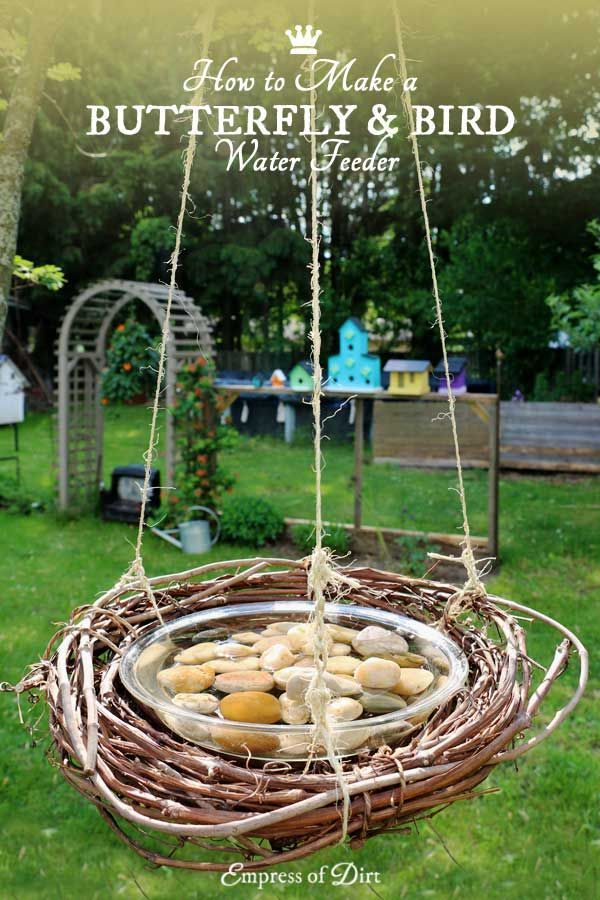 Birds, bees, and butterflies need fresh water every day. Make this DIY water feeder from household items. It takes just minutes to make and it's easy to wash!