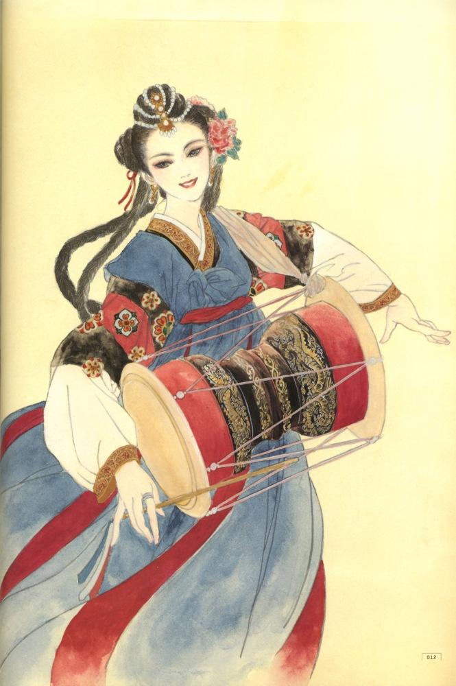 Art of noble lady playing drum by manga artist Natsuki Sumeragi.