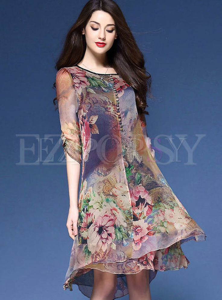 Shop for high quality Vintage Multi Print Loose Dress online at cheap prices and discover fashion at Ezpopsy.com