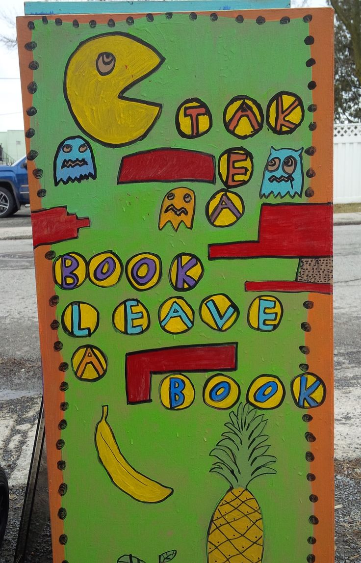 "Bibliothèque Itinérante 2016 - Art collectif - thème: pacman ""take a book, leave a book"""