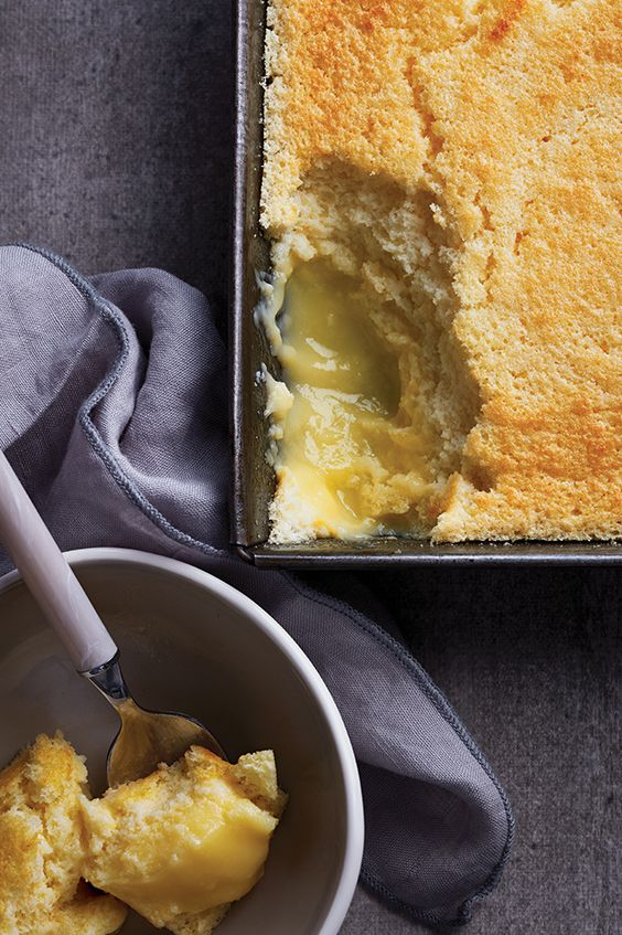 A fluffy cake sits atop a surprise layer of citrus-y pudding: this lemon pudding cake is a delight, and is sure to put a zesty spin on tonight's dessert.
