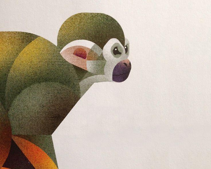 Monkey Illustration by Dieter Braun (Hamburg) #illustration #animal #monkey #gradient #texture #minimal #geometric #iconic #icon