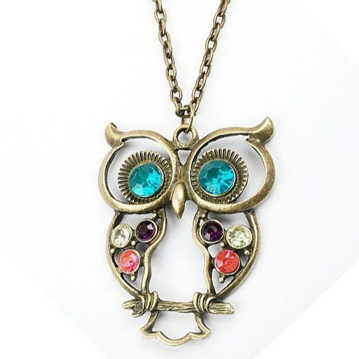 Hot Sale New Womens Fashion Vintage Rhinestone Owl Carved Pendant Long Chain Necklace NL-0016