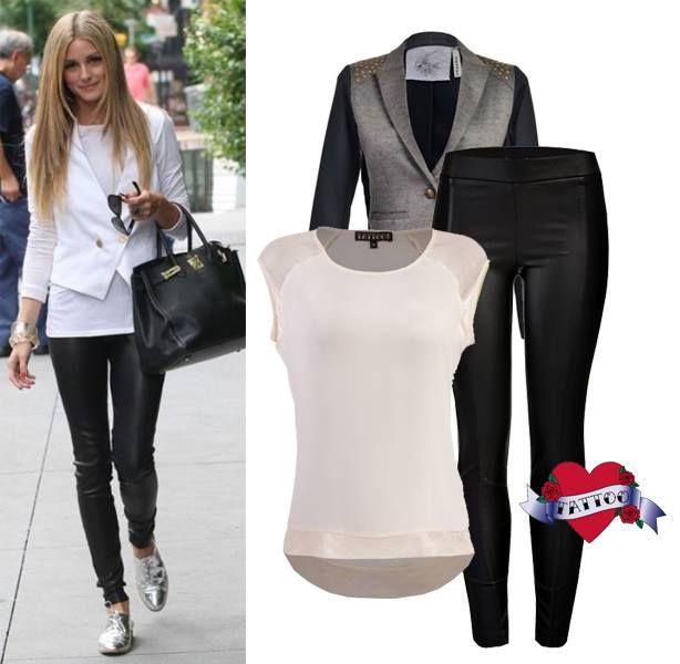 Este sencillo look de Olivia Palermo lo lográs con nuestros leggins con textura de piel y blusa en color perla a la venta en Sears México.
