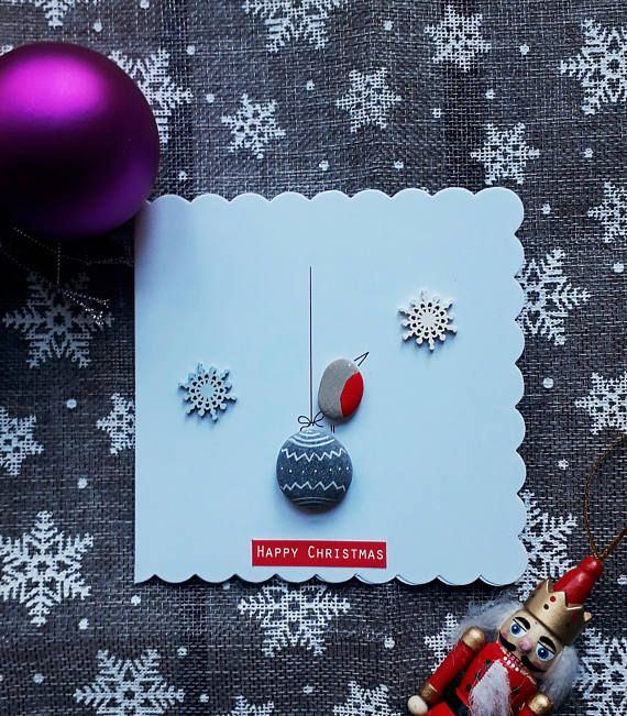 Christmas Card - Give your family or friends a really special and personal Christmas card that they surely wont get from anyone else. ✿ Handmade pebble card from South Devon, UK ✿ It comes with envelope ✿ Size: 5x5 (12.7x12.7 cm) ✿ Can be personalised by request (for example a name