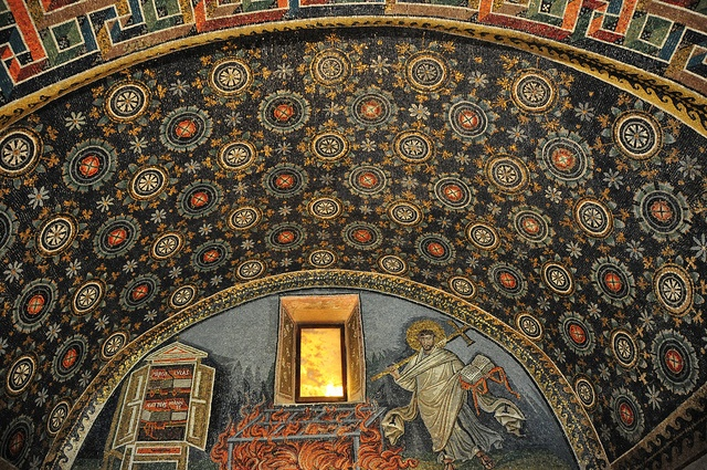 """The Mausoleum of Galla Placidia is a Roman building in Ravenna, Italy. It was listed with seven other structures in Ravenna in the World Heritage List in 1996 [1]. The UNESCO experts describe it as """"the earliest and best preserved of all mosaic monuments, and at the same time one of the most artistically perfect"""": Romans Building, Photo"""