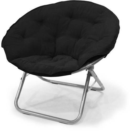 Large Saucer Chair Microsuede Folding Seat Home KIds Room Furniture NEW Black #1