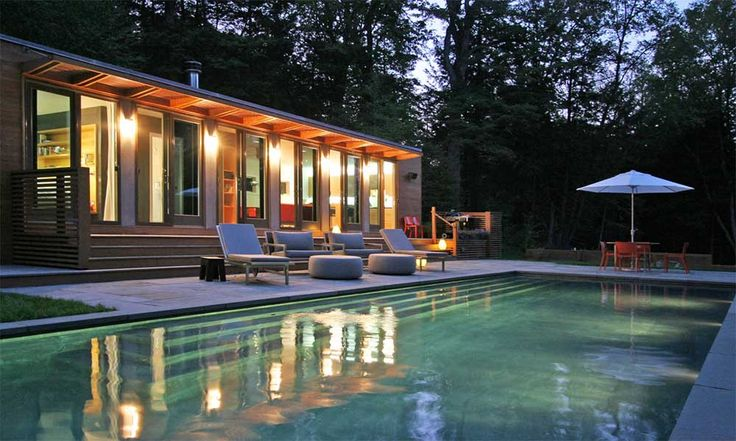 Pool and Pool House Designs with pool chair and attractive ligth