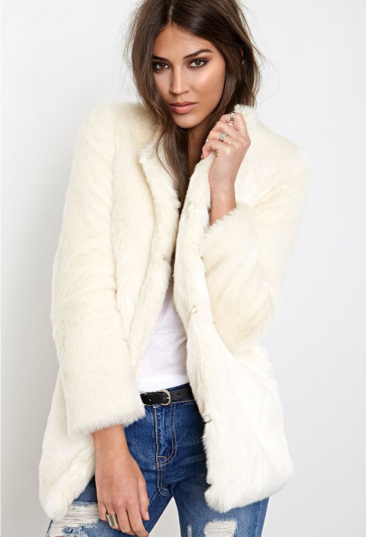 Collarless Luxe Faux Fur Coat